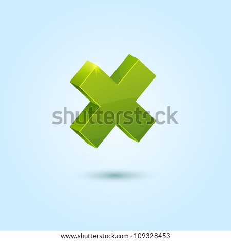 Green X mark symbol isolated on blue background. This vector icon is fully editable. - stock vector