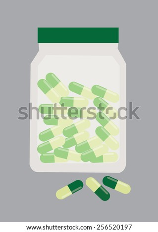 Green Yellow Pills in a Bottle. Vector Illustration - stock vector