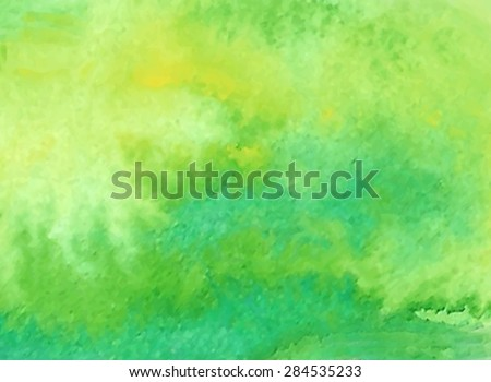 Green yellow watercolor hand drawn paper grain texture background. Wet brush painted smudges abstract vector illustration. Nature colorful design element, card, banner, template, decoration, print - stock vector