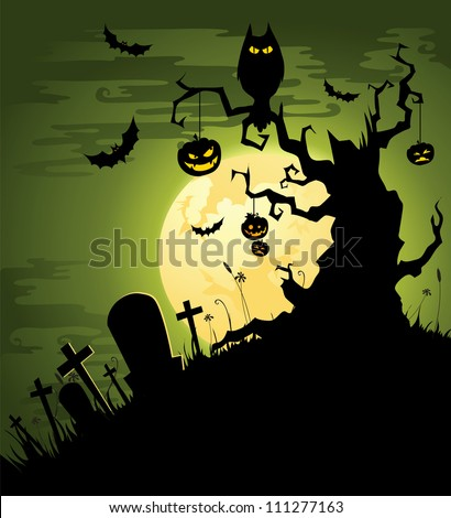 Greenish Halloween background - stock vector