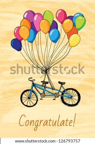 Greeteng Card with bicycle - stock vector