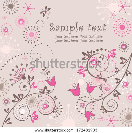 Greeting abstract floral card - stock vector