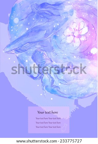 Greeting Beautiful card with animal fish. Cards for design, birthday and other holiday.Cute doodle,  with fish and octopus, Watercolor.  Bright illustration. - stock vector