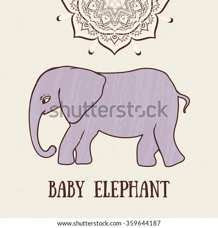 Greeting Beautiful card with Elephant. Frame of animal made in vector. Elephant Illustration for design, pattern, textiles. Hand drawn map with Elephant. - stock vector