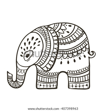 Greeting Beautiful card with Elephant. Frame of animal made in vector. Elephant Illustration for design, pattern, textiles. Hand drawn map with Elephant. Use for children's clothes, pajamas, web sites - stock vector
