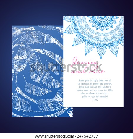 Greeting Beautiful  card with Feather. Card of  feather made in vector. Perfect  cards, for any other kind of design, birthday and other holiday. Bright illustration. Card with hand-drawn feathers - stock vector