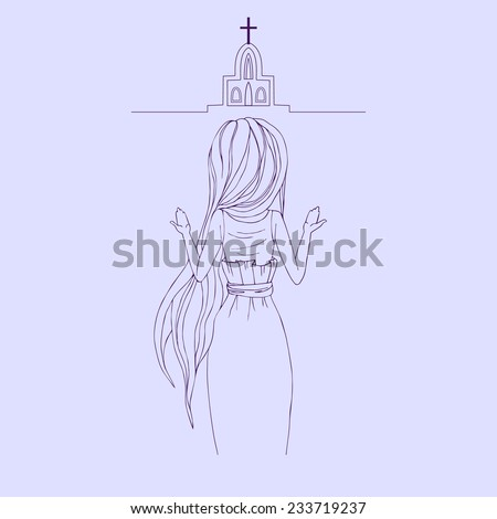 Greeting Beautiful  card with women praying. Frame of  girl made in vector. Perfect  cards wih prayer, praying hands, worship, design, birthday and other holiday. Bright illustration.  - stock vector