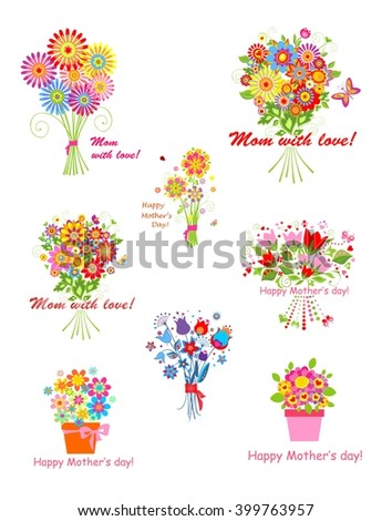 Greeting bouquets for Mothers day - stock vector