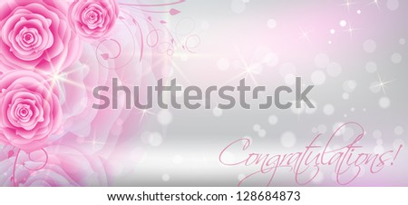 Greeting card background with abstract pink roses - stock vector