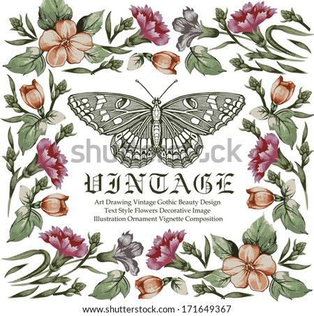 Greeting card. Butterflies. Beautiful frame with a flower ornament. - stock vector
