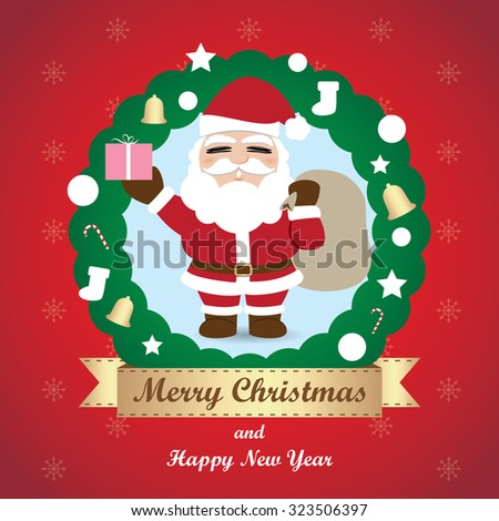 Greeting card, Christmas card with Santa Claus - stock vector