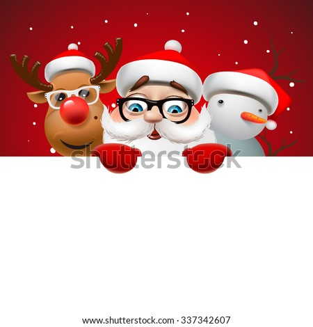 Greeting card, Christmas card with Santa Claus ,deer and snowman, vector illustration. - stock vector