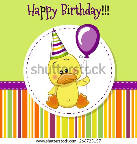 Greeting card Cute Duck with balloon and bonnet  - stock vector