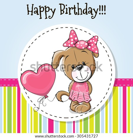 Greeting card cute puppy girl with balloon and bow - stock vector