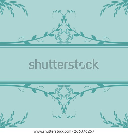 greeting card. decorated with delicate leaves - stock vector
