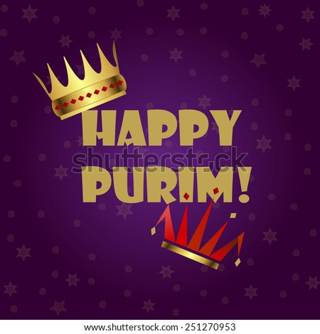 Greeting card design for Jewish holiday Purim vector template. Jewish Spring Carnival greeting card / poster. Purim party traditional attributes: king's crown & clown's hat. Layered, editable - stock vector
