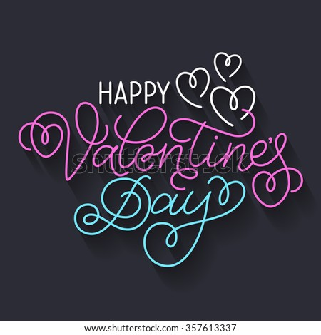 Greeting card design 'Happy Valentine's Day'. Colorful hand lettering with hearts and swashes on dark background. - stock vector