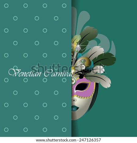 greeting card design. venetian mask - stock vector