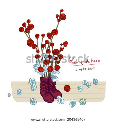 Greeting card design with boots and rose - stock vector