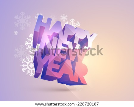 Greeting card design with stylish shiny text on snowflakes decorated background for Happy New Year 2015 celebrations. - stock vector