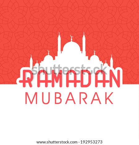Greeting Card design with white silhouette of mosque and stylish text Ramadan Kareem on pink and white background. - stock vector