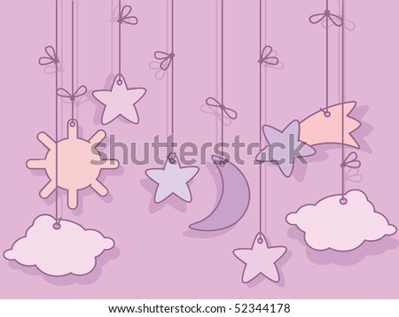 Greeting card for newborn baby girl - stock vector
