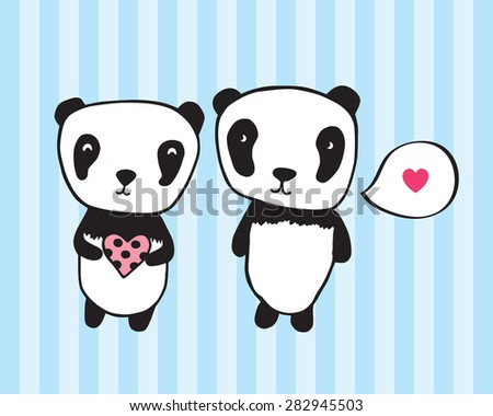 Greeting card for Valentine's Day, birthday with pandas and hearts. Hand drawn pandas for your design. Light pink background with hearts. Doodles, sketch. Vector illustration. - stock vector