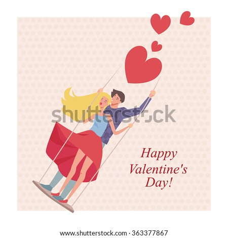 Greeting card for Valentine's Day in a cartoon style, lovers on a swing - stock vector