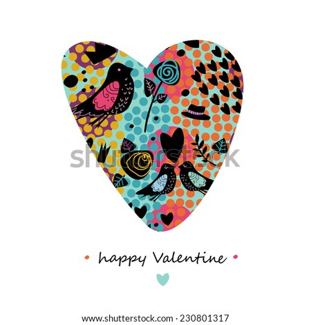 Greeting card for Valentine's day. Vector image. - stock vector