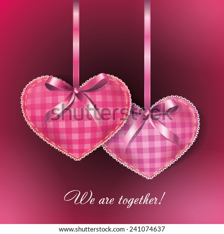 Greeting card for Valentine's Day with two hearts in the form of pad for needles with ribbons. - stock vector