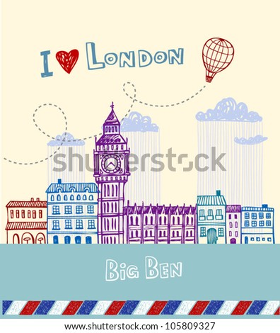 Greeting card from London - stock vector