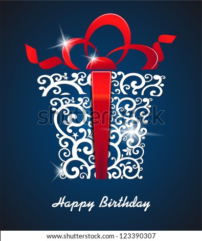 Greeting card Happy Birthday. with gift box and place for your text. vector - stock vector