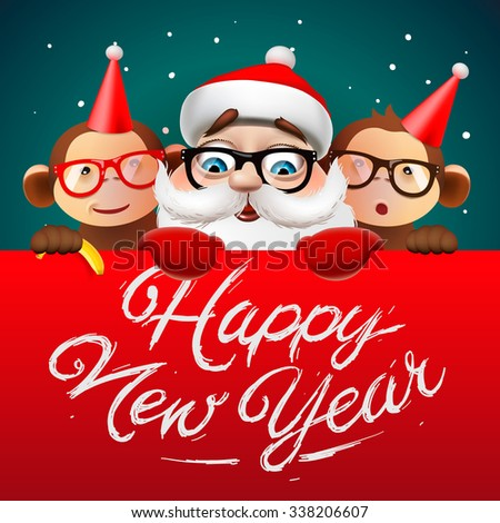 Greeting card, Happy New Year card with Santa Claus and monkeys, vector illustration. - stock vector