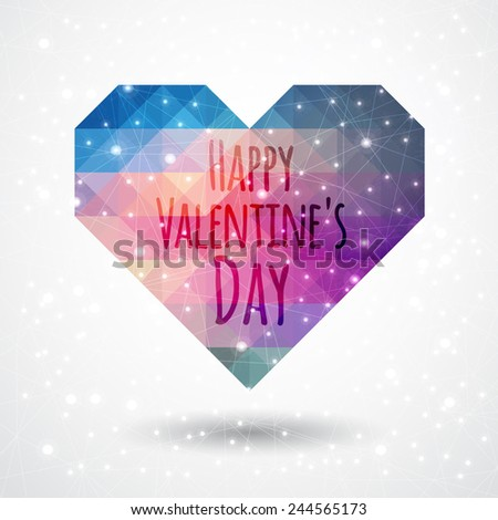 Greeting card Happy Valentine's Day with a heart space of triangles on a gray background - stock vector