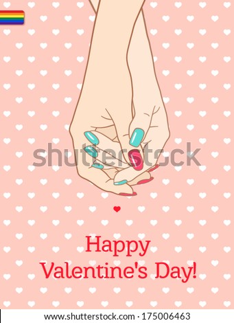 """Greeting card """"Happy Valentine's Day"""", with holding hands couple lesbians - stock vector"""