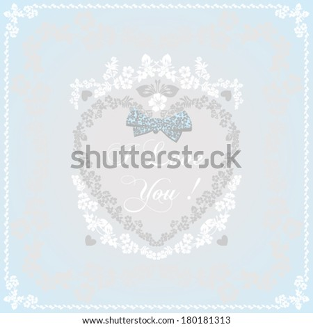Greeting card  in an old-style blue and white. Vector Version - stock vector