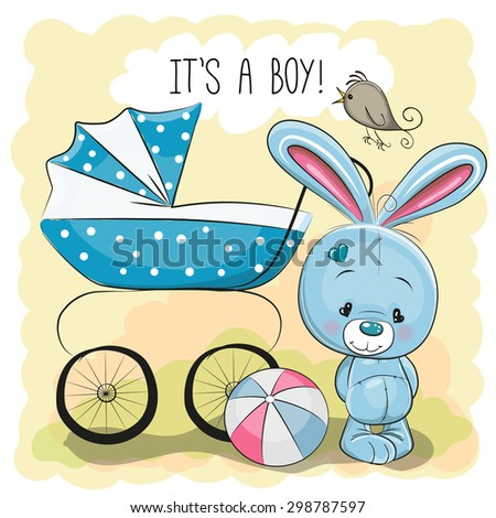 Greeting card it's a boy with baby carriage and rabbit  - stock vector