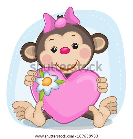 Greeting card Monkey and heart - stock vector