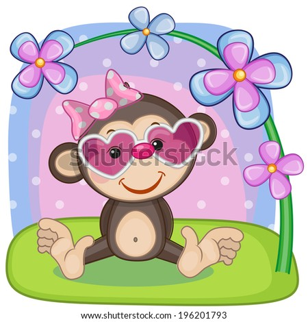 Greeting card Monkey with flowers - stock vector