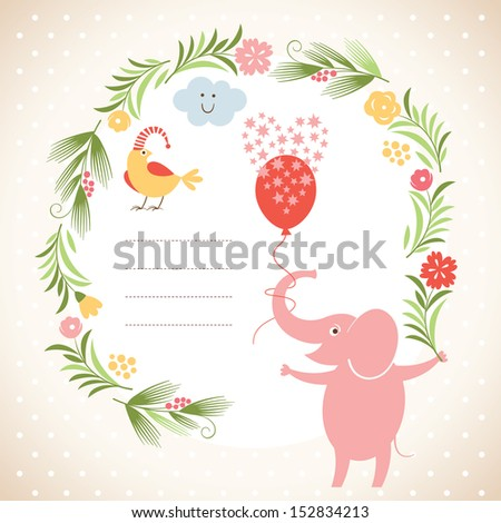 Greeting card or invitation, cute elephant - stock vector