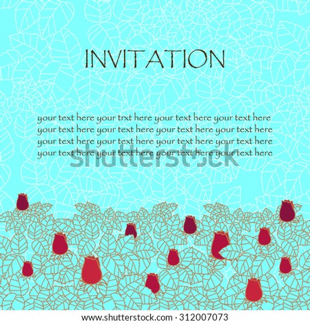 greeting card or invitation. rose and leaves lace ornament. wedding invitation card. vector border and place for your text. floral abstract decor. vector illustration. brown and yellow colors - stock vector