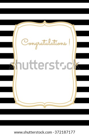 Greeting card . striped background with frame and golden glitter text . white and black. EPS 10 - stock vector