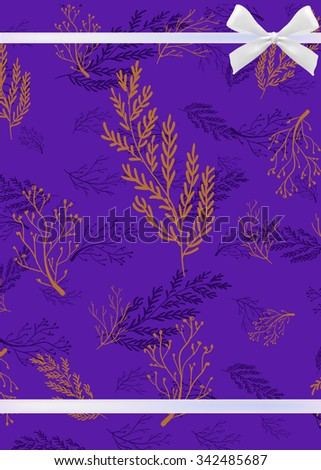 Greeting card template with hand drawing elements. VECTOR. Purple with white ribbon - stock vector