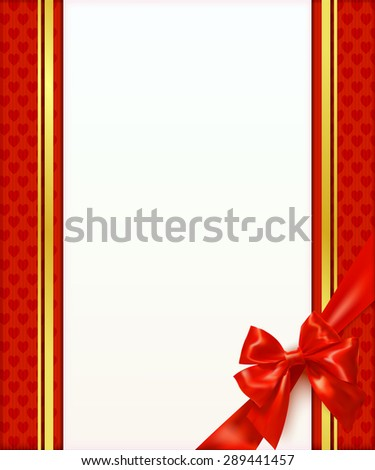 Greeting card template with red bow and ribbon. Invitation. Vector illustration - stock vector