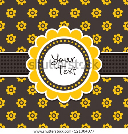 Greeting card template with vintage print and daisy shaped text frame. Great for Thanksgiving Day, Easter, birthday, stationery, Thank You, party invitations. - stock vector