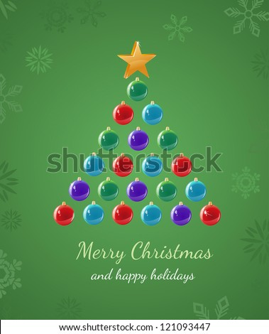 Greeting card that uses ornaments to create a Christmas Tree shape. - stock vector