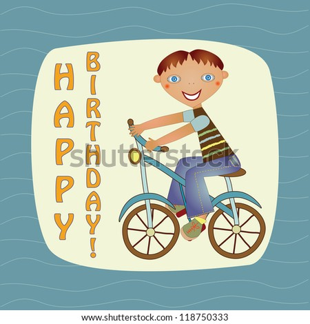greeting card with a boy on a bike - stock vector