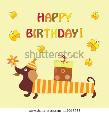 greeting card with a dog and a gift - stock vector