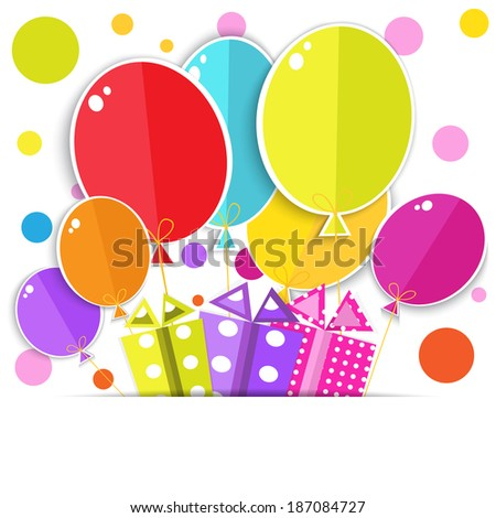 Greeting card with a gift boxes and balloons.  Vector EPS10. - stock vector