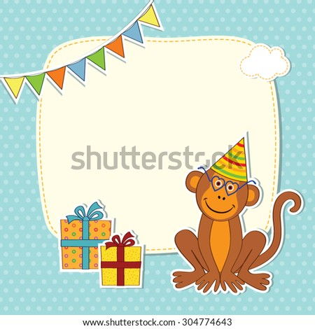 Greeting card with a monkey in a cap and glasses with gift boxes, frames and flags on a blue background with polka dots - stock vector
